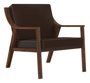 Beacon Lounge Chair_Salvaged American Black Walnut_Natural Finish with Tobacco Leather_Perspective