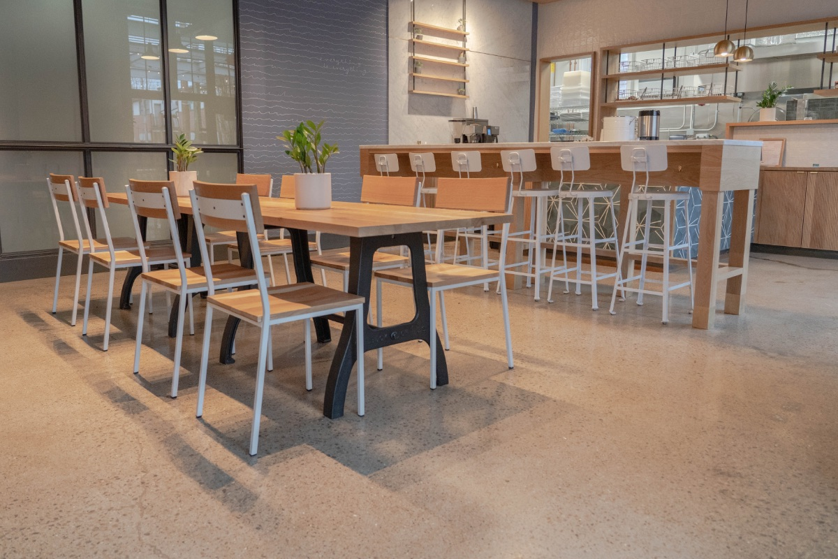 Sea Salt and Cask Transit Chairs and Gunmetal and Cask M3 Table with sea Salt One Ton Stools in the background