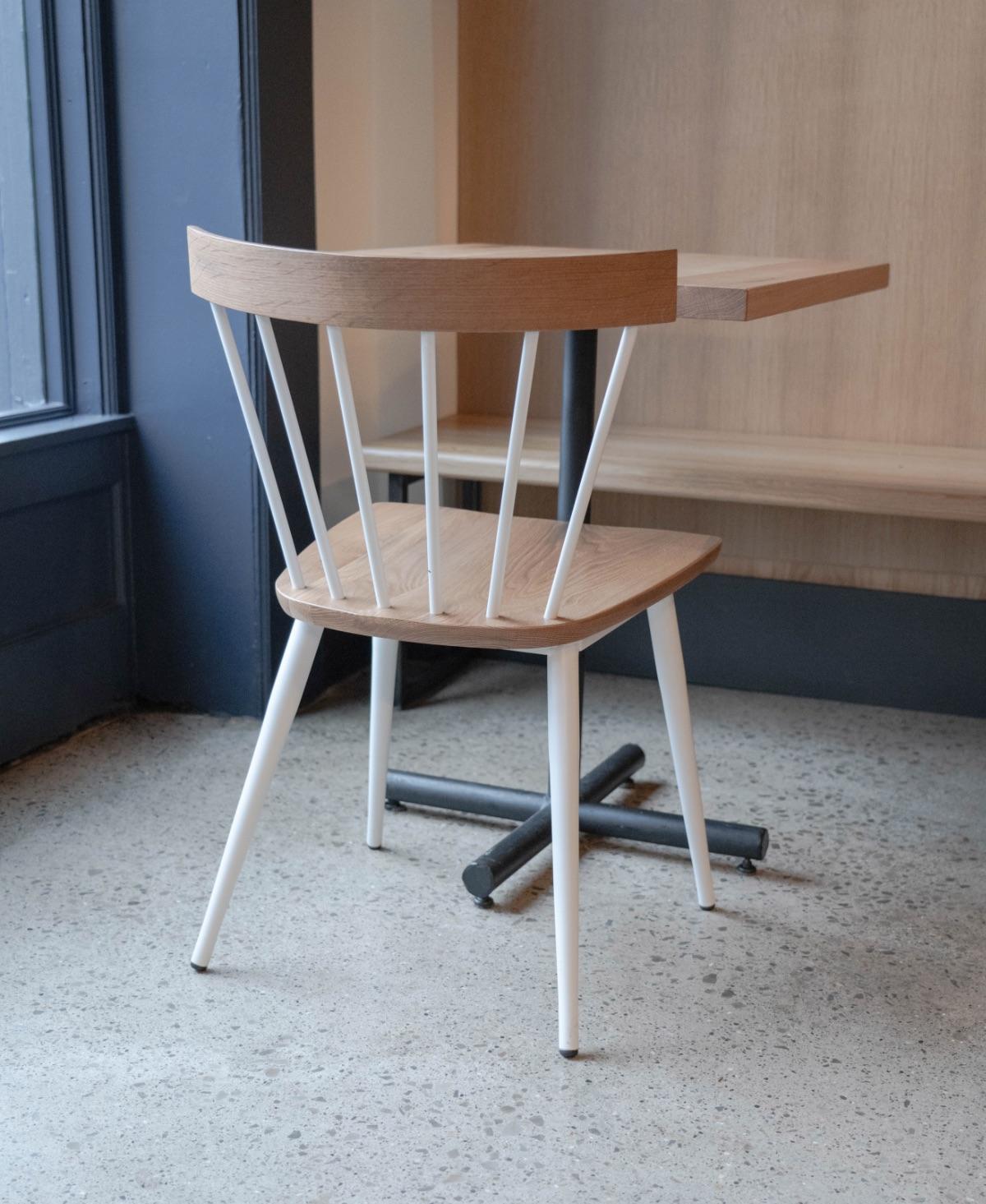 Compass chair in Sea Salt metal and Cask finished American white oak