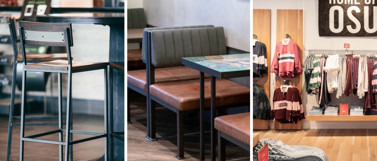 Transit Stool in Starbucks, Custom Banquette at LEON, Custom Clothing Racks at Abercrombie and Fitch