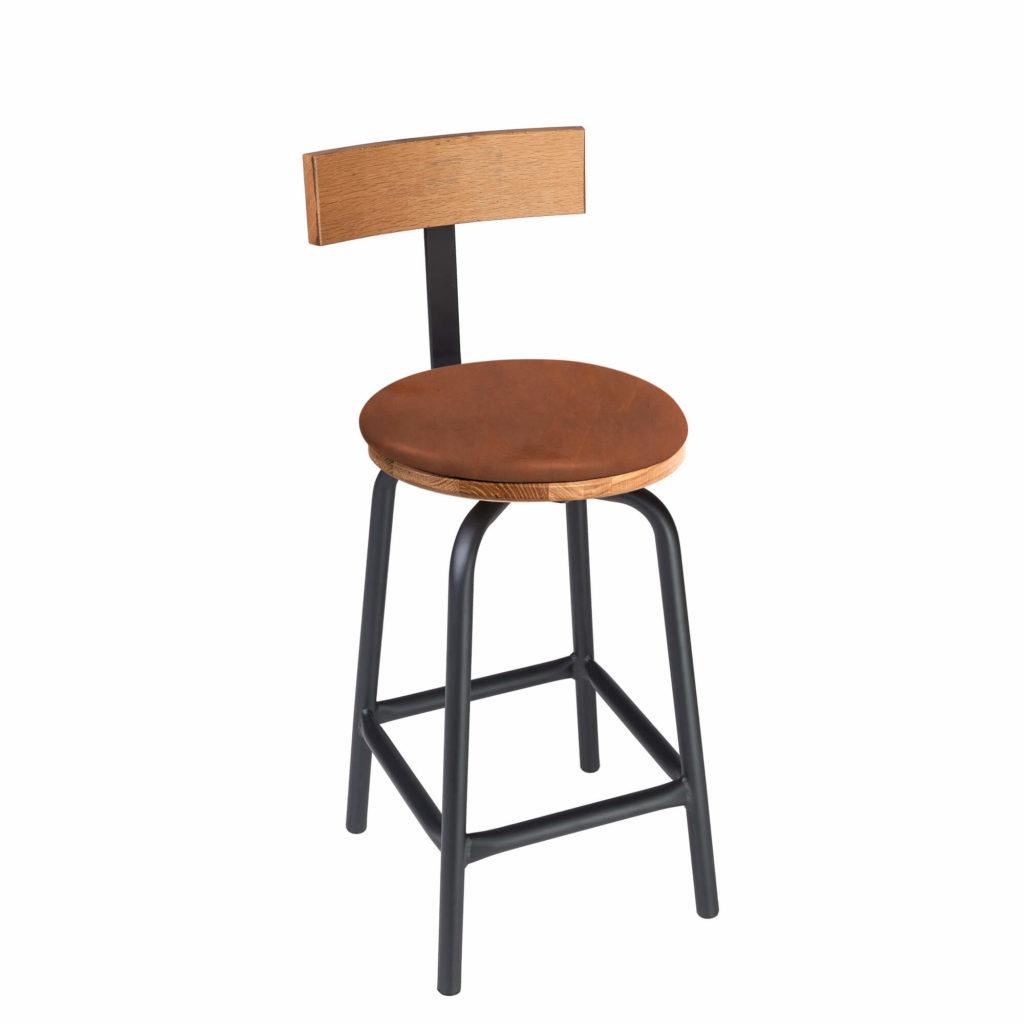 pub stool back upholstery 24 LT GM - Crow Works