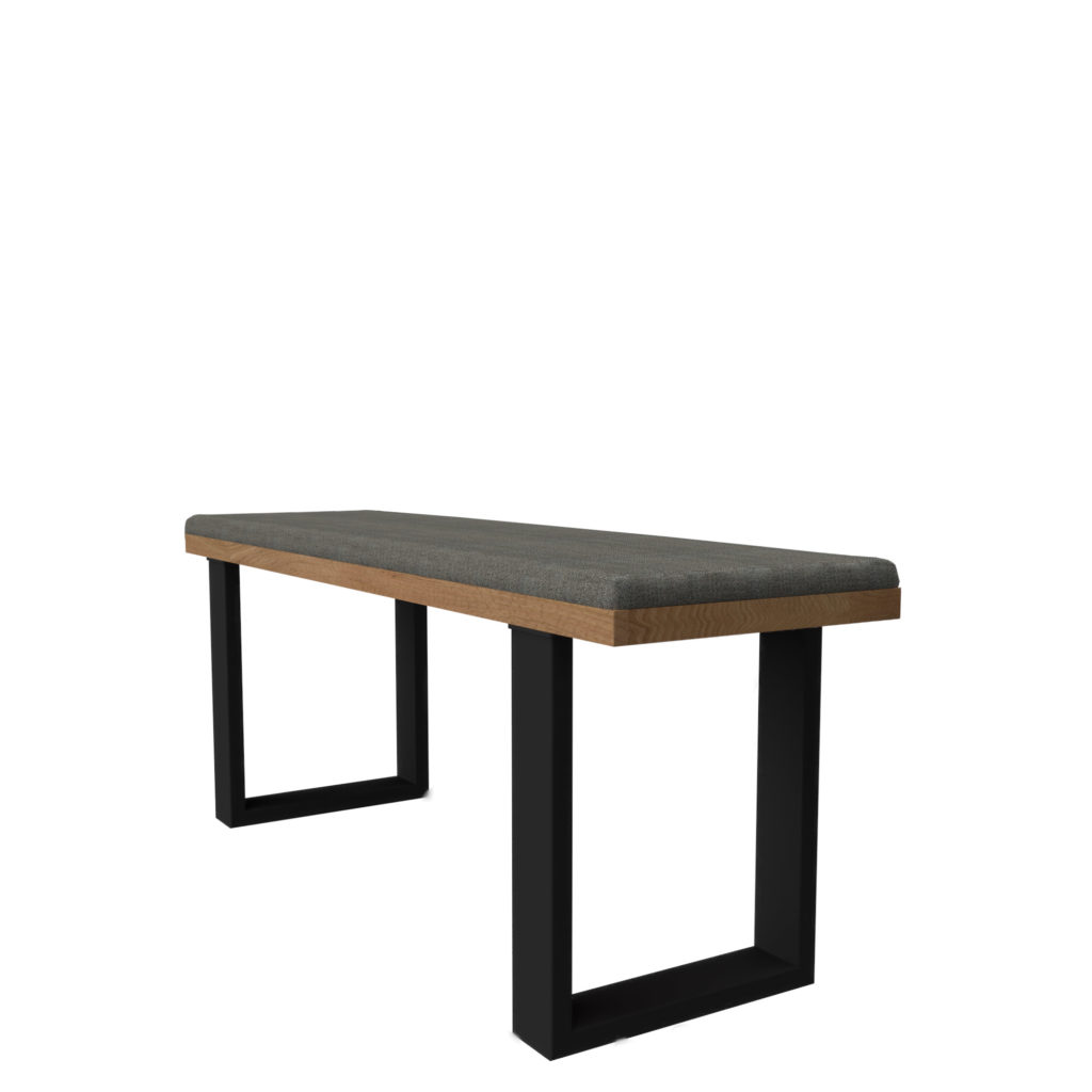 strap leg bench 48 LT GM Uph - Crow Works